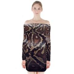 Snake Skin Olay Long Sleeve Off Shoulder Dress