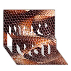 Snake Python Skin Pattern Miss You 3D Greeting Card (7x5)