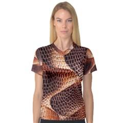 Snake Python Skin Pattern Women s V-Neck Sport Mesh Tee