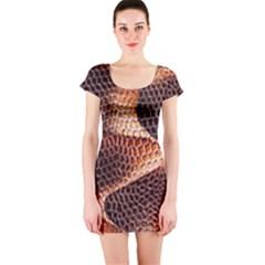 Snake Python Skin Pattern Short Sleeve Bodycon Dress