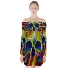 Skulls Multicolor Fractalius Colors Colorful Long Sleeve Off Shoulder Dress