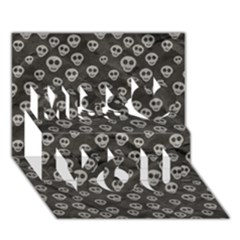 Skull Halloween Background Texture Miss You 3D Greeting Card (7x5)