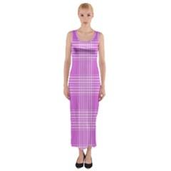 Seamless Tartan Pattern Fitted Maxi Dress