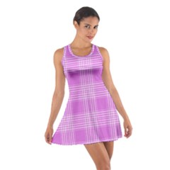 Seamless Tartan Pattern Cotton Racerback Dress