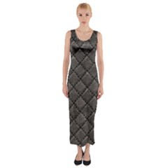 Seamless Leather Texture Pattern Fitted Maxi Dress