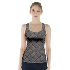 Seamless Leather Texture Pattern Racer Back Sports Top