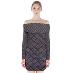 Seamless Leather Texture Pattern Long Sleeve Off Shoulder Dress