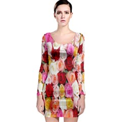 Rose Color Beautiful Flowers Long Sleeve Bodycon Dress