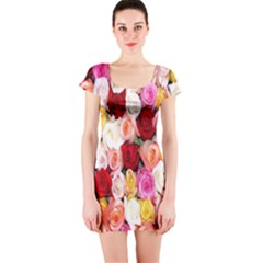 Rose Color Beautiful Flowers Short Sleeve Bodycon Dress