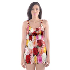 Rose Color Beautiful Flowers Skater Dress Swimsuit