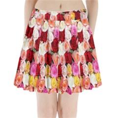 Rose Color Beautiful Flowers Pleated Mini Skirt