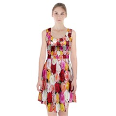 Rose Color Beautiful Flowers Racerback Midi Dress