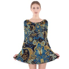Retro Ethnic Background Pattern Vector Long Sleeve Velvet Skater Dress