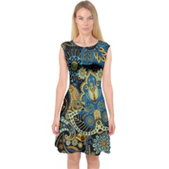 Retro Ethnic Background Pattern Vector Capsleeve Midi Dress