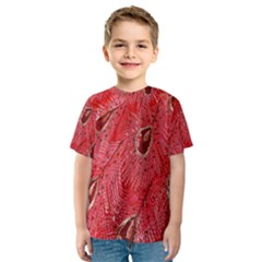 Red Peacock Floral Embroidered Long Qipao Traditional Chinese Cheongsam Mandarin Kids  Sport Mesh Tee
