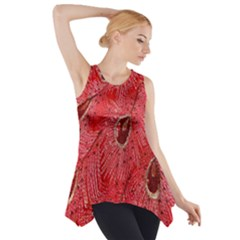 Red Peacock Floral Embroidered Long Qipao Traditional Chinese Cheongsam Mandarin Side Drop Tank Tunic