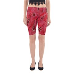 Red Peacock Floral Embroidered Long Qipao Traditional Chinese Cheongsam Mandarin Yoga Cropped Leggings