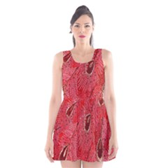 Red Peacock Floral Embroidered Long Qipao Traditional Chinese Cheongsam Mandarin Scoop Neck Skater Dress