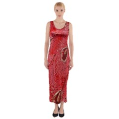 Red Peacock Floral Embroidered Long Qipao Traditional Chinese Cheongsam Mandarin Fitted Maxi Dress