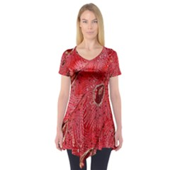 Red Peacock Floral Embroidered Long Qipao Traditional Chinese Cheongsam Mandarin Short Sleeve Tunic