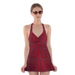 Red Dark Vintage Pattern Halter Swimsuit Dress
