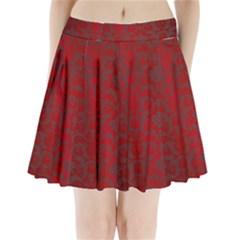 Red Dark Vintage Pattern Pleated Mini Skirt