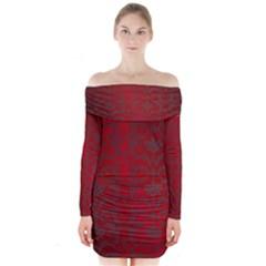 Red Dark Vintage Pattern Long Sleeve Off Shoulder Dress