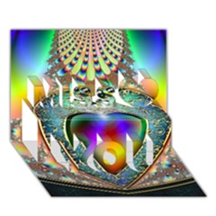 Rainbow Fractal Miss You 3D Greeting Card (7x5)