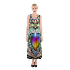 Rainbow Fractal Sleeveless Maxi Dress