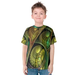 Psytrance Abstract Colored Pattern Feather Kids  Cotton Tee