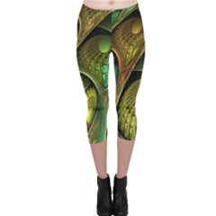Psytrance Abstract Colored Pattern Feather Capri Leggings