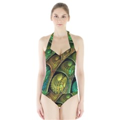 Psytrance Abstract Colored Pattern Feather Halter Swimsuit