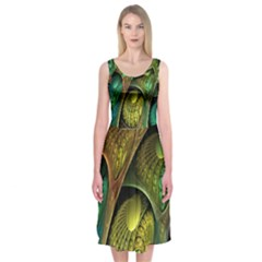 Psytrance Abstract Colored Pattern Feather Midi Sleeveless Dress