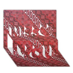 Red Batik Background Vector Miss You 3D Greeting Card (7x5)