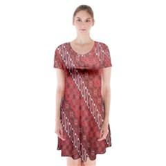Red Batik Background Vector Short Sleeve V-neck Flare Dress