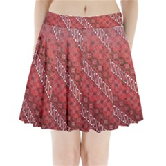 Red Batik Background Vector Pleated Mini Skirt