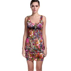 Psychedelic Flower Sleeveless Bodycon Dress