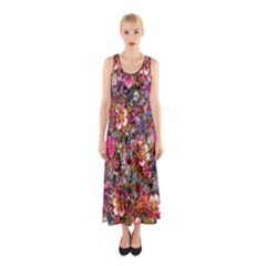 Psychedelic Flower Sleeveless Maxi Dress