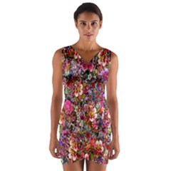 Psychedelic Flower Wrap Front Bodycon Dress