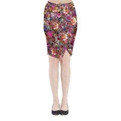 Psychedelic Flower Midi Wrap Pencil Skirt