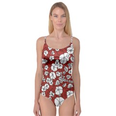 Cvdr0098 Red White Black Flowers Camisole Leotard