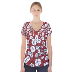 Cvdr0098 Red White Black Flowers Short Sleeve Front Detail Top