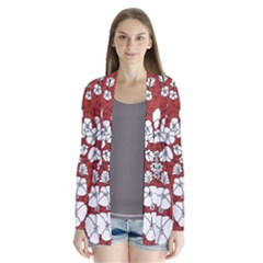 Cvdr0098 Red White Black Flowers Drape Collar Cardigan