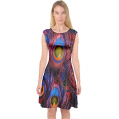 Pretty Peacock Feather Capsleeve Midi Dress