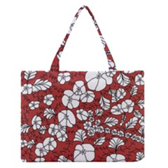 Cvdr0098 Red White Black Flowers Medium Zipper Tote Bag