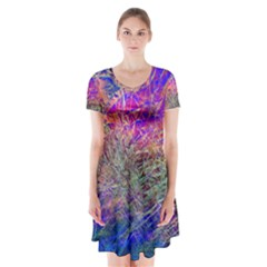 Poetic Cosmos Of The Breath Short Sleeve V-neck Flare Dress
