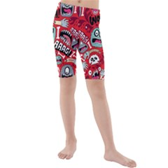 Agghh Pattern Kids  Mid Length Swim Shorts