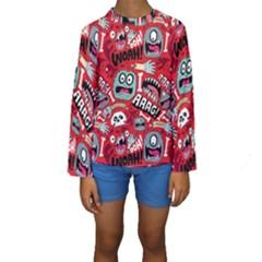 Agghh Pattern Kids  Long Sleeve Swimwear