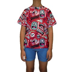 Agghh Pattern Kids  Short Sleeve Swimwear