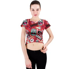 Agghh Pattern Crew Neck Crop Top